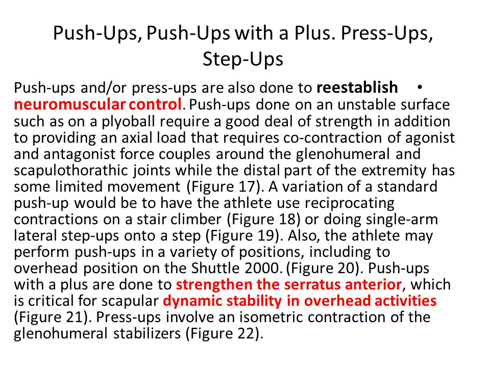Push-Ups, Push-Ups with a Plus.
