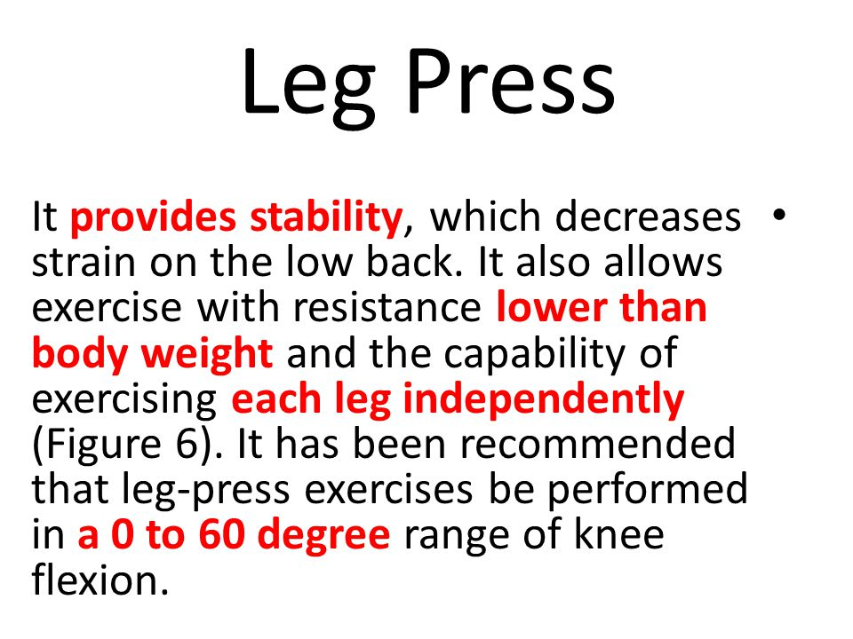 Leg Press It provides stability, which decreases strain on the low back.