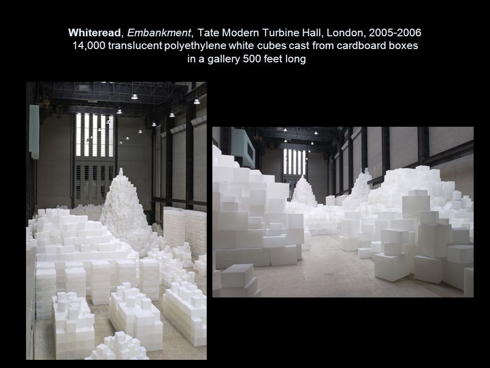 Whiteread, Embankment, Tate Modern Turbine Hall, London, 2005-2006 14,000 translucent polyethylene white cubes cast from cardboard boxes in a gallery 500 feet long