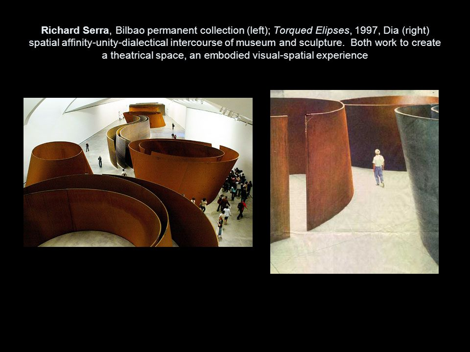 Richard Serra, Bilbao permanent collection (left); Torqued Elipses, 1997, Dia (right) spatial affinity-unity-dialectical intercourse of museum and sculpture.