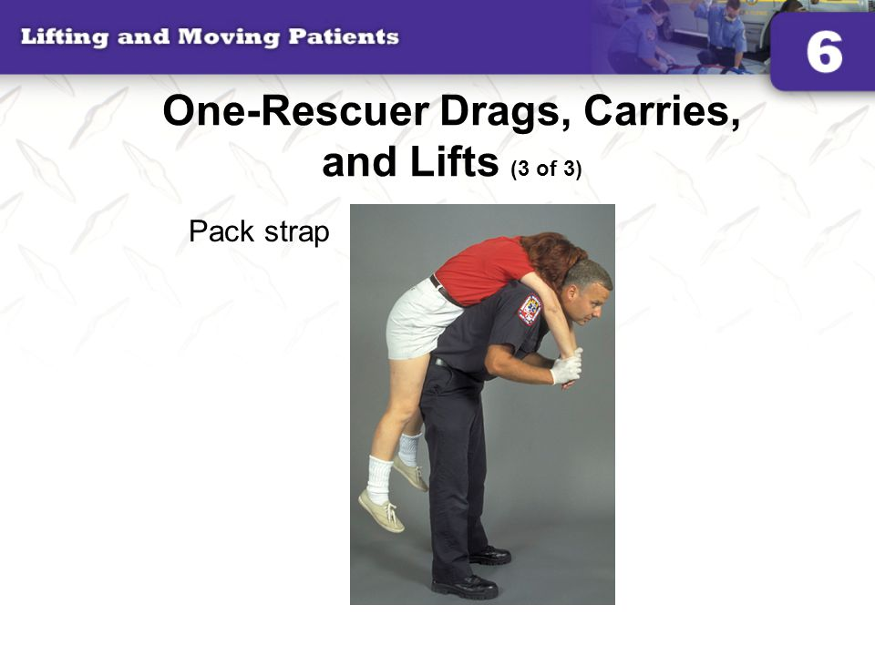 One-Rescuer Drags, Carries, and Lifts (3 of 3) Pack strap