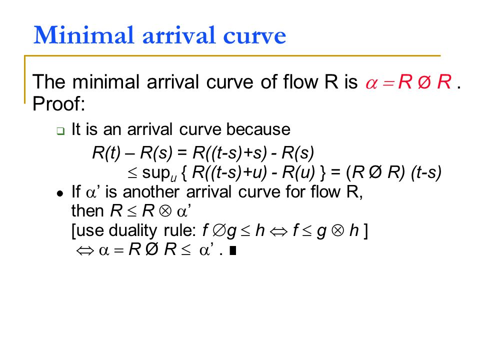 Minimal arrival curve The minimal arrival curve of flow R is  R Ø R .