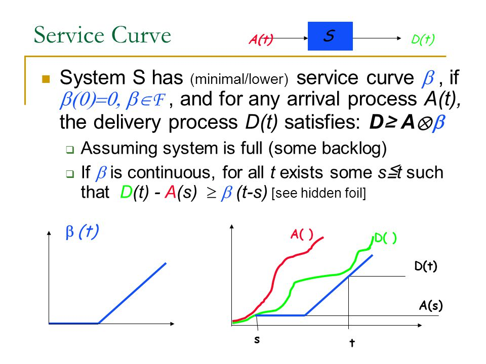 Service Curve System S has (minimal/lower) service curve , if  F, and for any arrival process A(t), the delivery process D(t) satisfies: D≥ A ⊗   Assuming system is full (some backlog)  If  is continuous, for all t exists some s ≦ t such that D(t) - A(s)   (t-s) [see hidden foil]  (t) S A(t)D(t) t s A(s) A( ) D( )