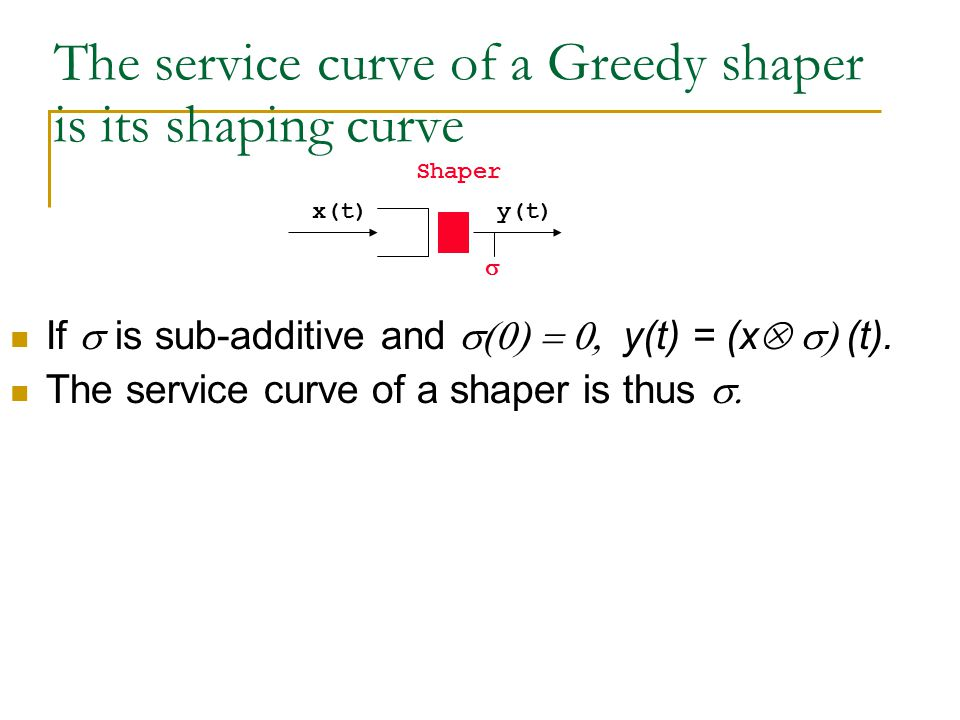 The service curve of a Greedy shaper is its shaping curve x(t)  Shaper y(t) If  is sub-additive and  y(t) = (x  (t).