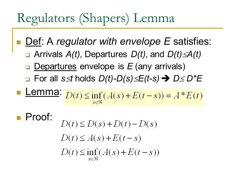 Regulators (Shapers) Lemma Def: A regulator with envelope E satisfies:  Arrivals A(t), Departures D(t), and D(t)  A(t)  Departures envelope is E (a