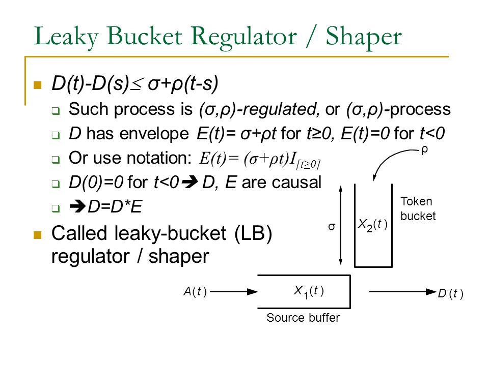Leaky Bucket Regulator / Shaper D(t)-D(s)  σ+ρ(t-s)  Such process is (σ,ρ)-regulated, or (σ,ρ)-process  D has envelope E(t)= σ+ρt for t≥0, E(t)=0 f