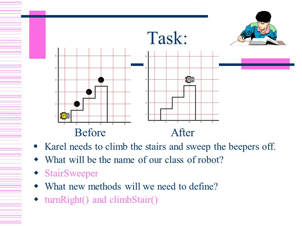 Task: Before After  Karel needs to climb the stairs and sweep the beepers off.