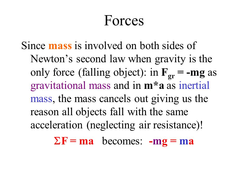 Forces Since mass is involved on both sides of Newton's second law when gravity is the only force (falling object): in F gr = -mg as gravitational mass and in m*a as inertial mass, the mass cancels out giving us the reason all objects fall with the same acceleration (neglecting air resistance).