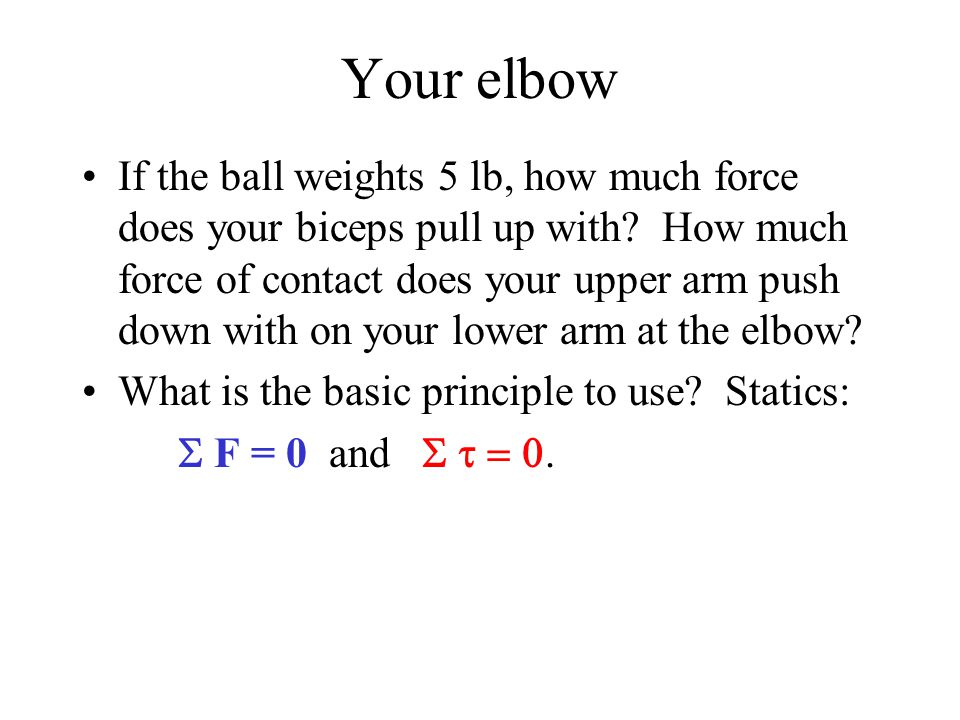 Your elbow If the ball weights 5 lb, how much force does your biceps pull up with.