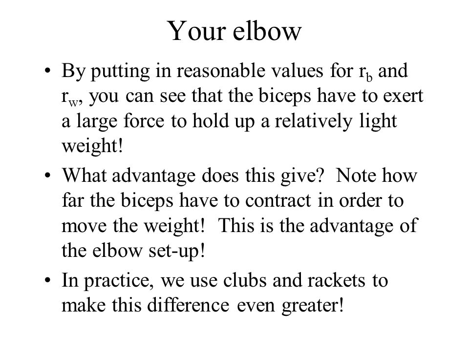 Your elbow By putting in reasonable values for r b and r w, you can see that the biceps have to exert a large force to hold up a relatively light weight.