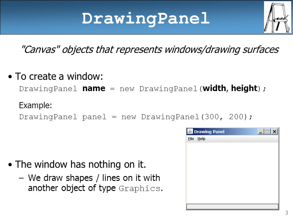 24 Animation with sleep DrawingPanel s sleep method pauses your program for a given number of milliseconds.