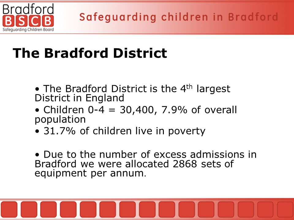The Bradford District The Bradford District is the 4 th largest District in England Children 0-4 = 30,400, 7.9% of overall population 31.7% of children live in poverty Due to the number of excess admissions in Bradford we were allocated 2868 sets of equipment per annum.