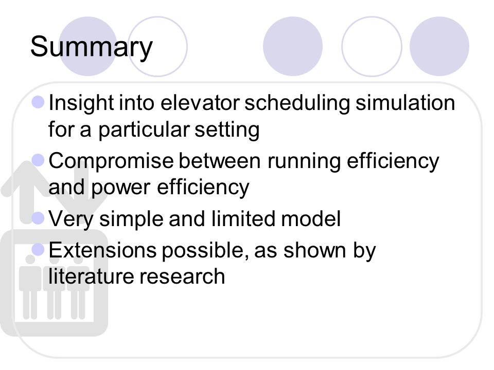 Summary Insight into elevator scheduling simulation for a particular setting Compromise between running efficiency and power efficiency Very simple and limited model Extensions possible, as shown by literature research