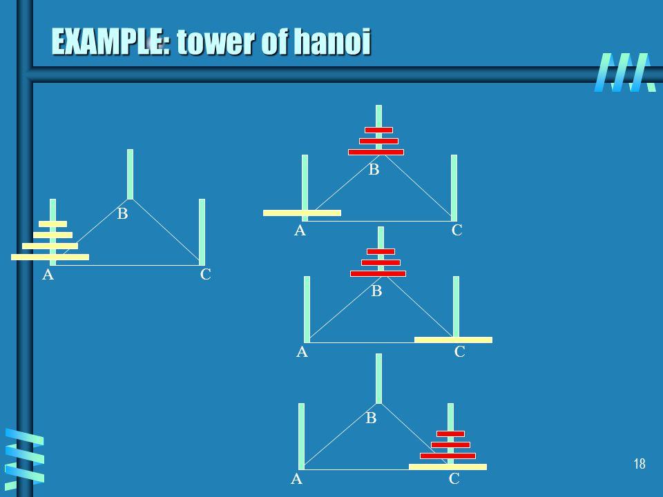 18 EXAMPLE: tower of hanoi AC B AC B AC B AC B