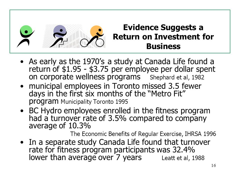 16 Evidence Suggests a Return on Investment for Business As early as the 1970's a study at Canada Life found a return of $1.95 - $3.75 per employee per dollar spent on corporate wellness programs Shephard et al, 1982 municipal employees in Toronto missed 3.5 fewer days in the first six months of the Metro Fit program Municipality Toronto 1995 BC Hydro employees enrolled in the fitness program had a turnover rate of 3.5% compared to company average of 10.3% The Economic Benefits of Regular Exercise, IHRSA 1996 In a separate study Canada Life found that turnover rate for fitness program participants was 32.4% lower than average over 7 years Leatt et al, 1988