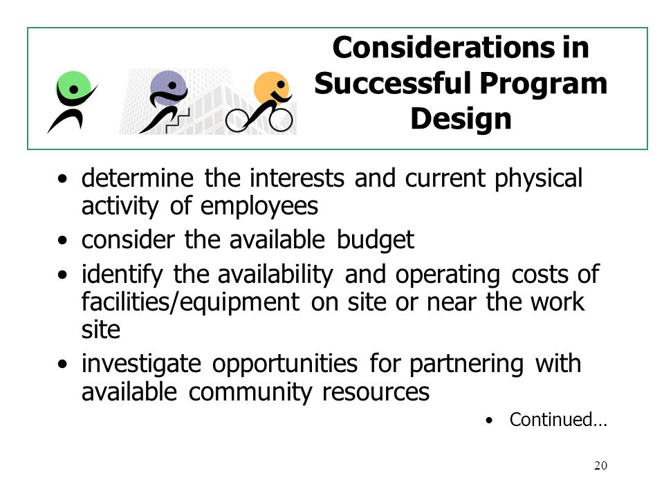 20 Considerations in Successful Program Design determine the interests and current physical activity of employees consider the available budget identify the availability and operating costs of facilities/equipment on site or near the work site investigate opportunities for partnering with available community resources Continued…