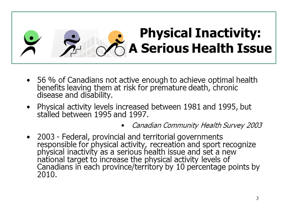 4 Guide Leads the Way Canada ' s Physical Activity Guide to Healthy Active Living Produced in 1998, it is the first-ever set of national guidelines designed to help Canadians improve their health through regular physical activity.