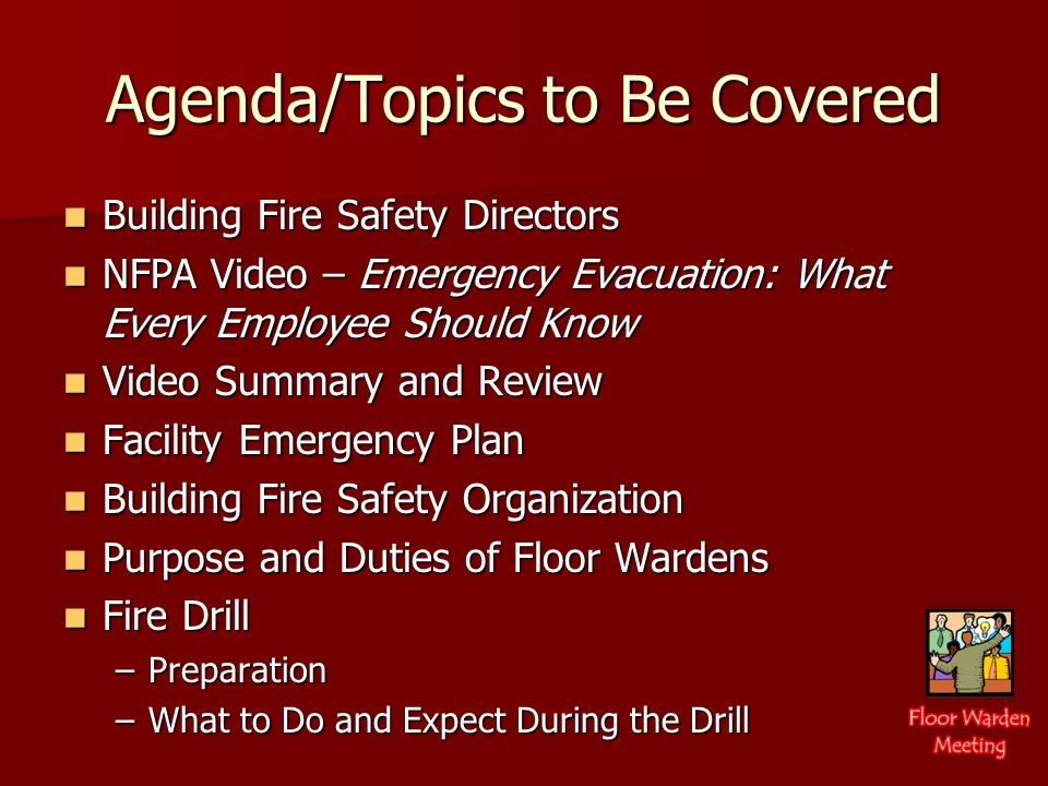 Video Review R E D React – Evaluate - Decide In times of peril, your knowledge of the Emergency Evacuation Plan can help you: React quickly to an emergency situation, Evaluate evacuation alternatives and Decide on the best option.