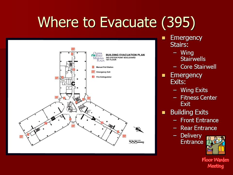 Where to Evacuate (395) Emergency Stairs: Emergency Stairs: –Wing Stairwells –Core Stairwell Emergency Exits: Emergency Exits: –Wing Exits –Fitness Center Exit Building Exits Building Exits –Front Entrance –Rear Entrance –Delivery Entrance