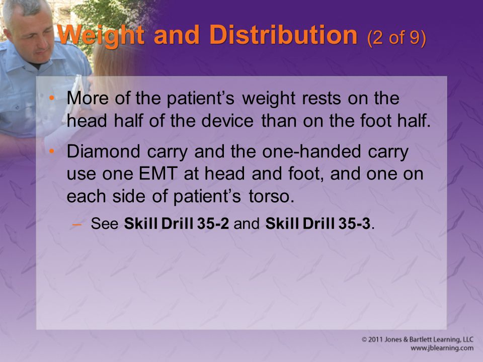 Weight and Distribution (2 of 9) More of the patient's weight rests on the head half of the device than on the foot half.