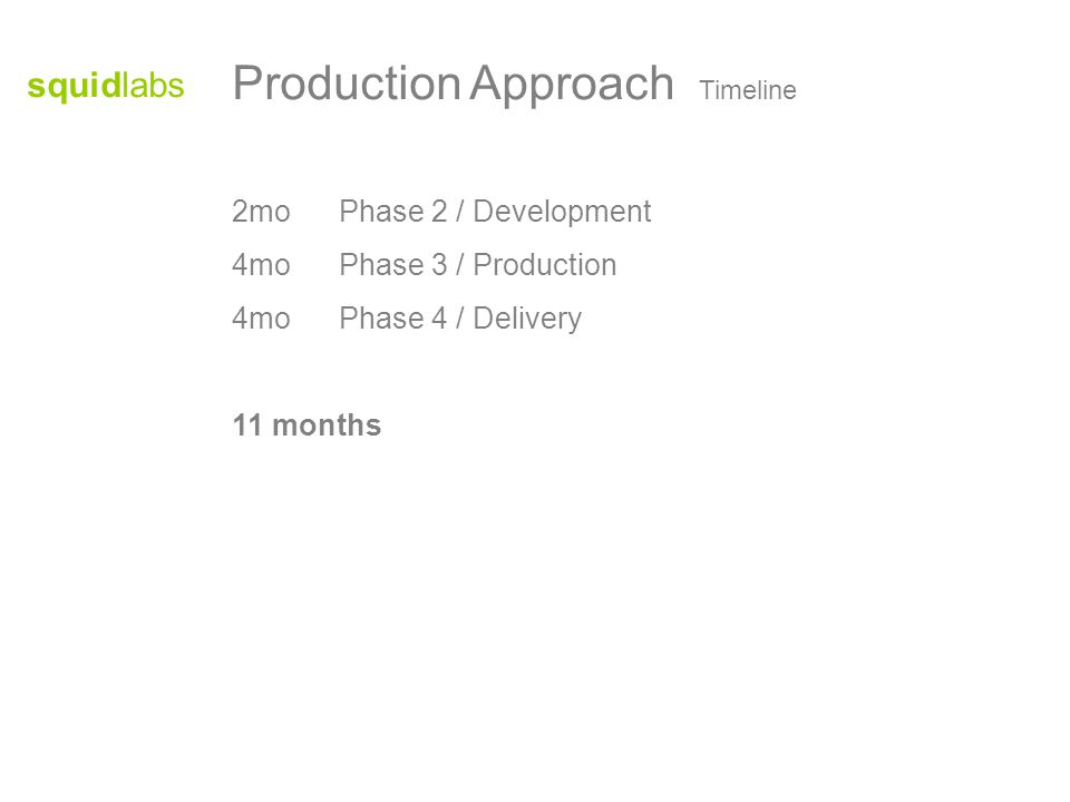 squidlabs Production Approach Timeline 2moPhase 2 / Development 4moPhase 3 / Production 4moPhase 4 / Delivery 11 months