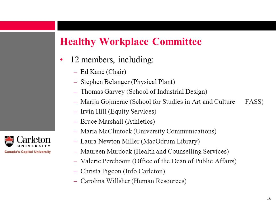 16 Healthy Workplace Committee 12 members, including: –Ed Kane (Chair) –Stephen Belanger (Physical Plant) –Thomas Garvey (School of Industrial Design) –Marija Gojmerac (School for Studies in Art and Culture — FASS) –Irvin Hill (Equity Services) –Bruce Marshall (Athletics) –Maria McClintock (University Communications) –Laura Newton Miller (MacOdrum Library) –Maureen Murdock (Health and Counselling Services) –Valerie Pereboom (Office of the Dean of Public Affairs) –Christa Pigeon (Info Carleton) –Carolina Willsher (Human Resources)