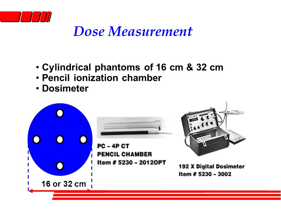 Dose Measurement Cylindrical phantoms of 16 cm & 32 cm Pencil ionization chamber Dosimeter 16 or 32 cm
