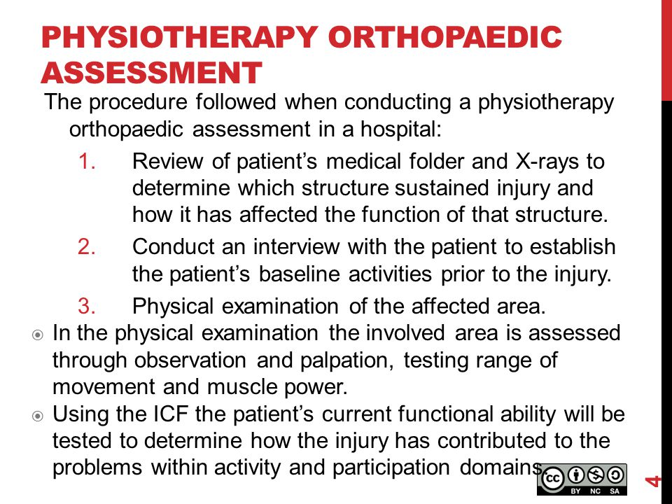 PHYSIOTHERAPY ORTHOPAEDIC ASSESSMENT The procedure followed when conducting a physiotherapy orthopaedic assessment in a hospital: 1.Review of patient'
