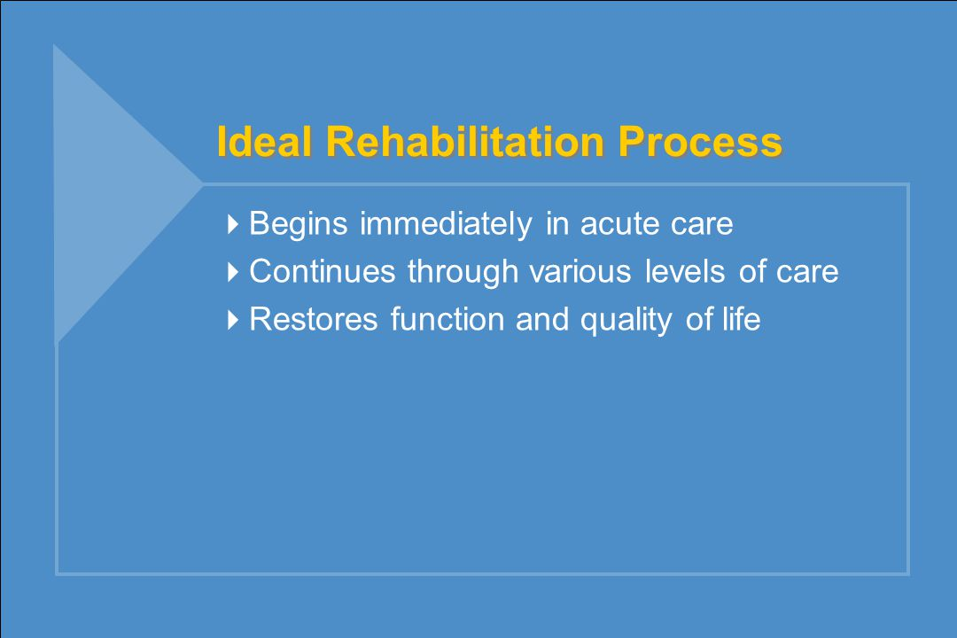 Ideal Rehabilitation Process  Begins immediately in acute care  Continues through various levels of care  Restores function and quality of life