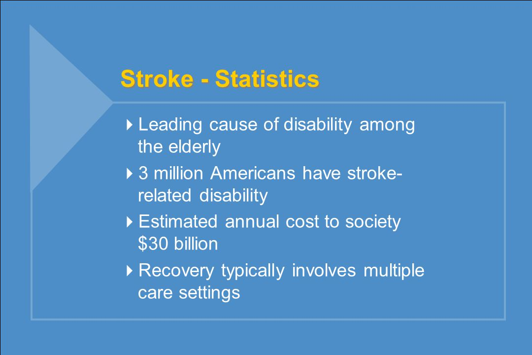Stroke - Statistics  Leading cause of disability among the elderly  3 million Americans have stroke- related disability  Estimated annual cost to society $30 billion  Recovery typically involves multiple care settings