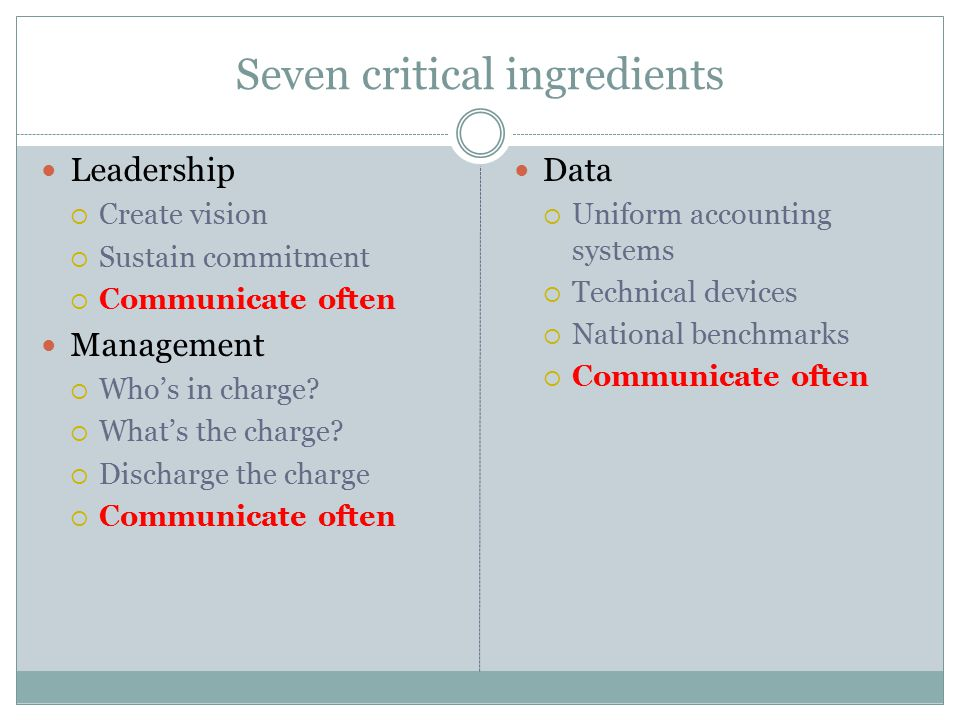 Seven critical ingredients Leadership  Create vision  Sustain commitment  Communicate often Management  Who's in charge.