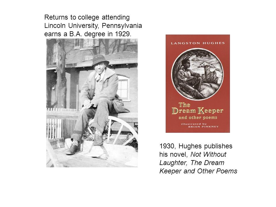 Returns to college attending Lincoln University, Pennsylvania earns a B.A. degree in 1929. 1930, Hughes publishes his novel, Not Without Laughter, The