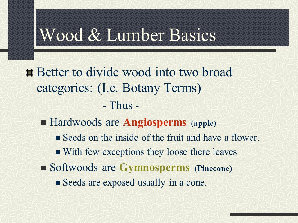 Better to divide wood into two broad categories: (I.e.