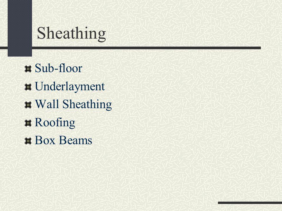 Sheathing Sub-floor Underlayment Wall Sheathing Roofing Box Beams