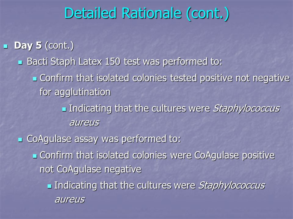 Detailed Rationale (cont.) Day 5 (cont.) Day 5 (cont.) Bacti Staph Latex 150 test was performed to: Bacti Staph Latex 150 test was performed to: Confirm that isolated colonies tested positive not negative for agglutination Confirm that isolated colonies tested positive not negative for agglutination Indicating that the cultures were Staphylococcus aureus Indicating that the cultures were Staphylococcus aureus CoAgulase assay was performed to: CoAgulase assay was performed to: Confirm that isolated colonies were CoAgulase positive not CoAgulase negative Confirm that isolated colonies were CoAgulase positive not CoAgulase negative Indicating that the cultures were Staphylococcus aureus Indicating that the cultures were Staphylococcus aureus