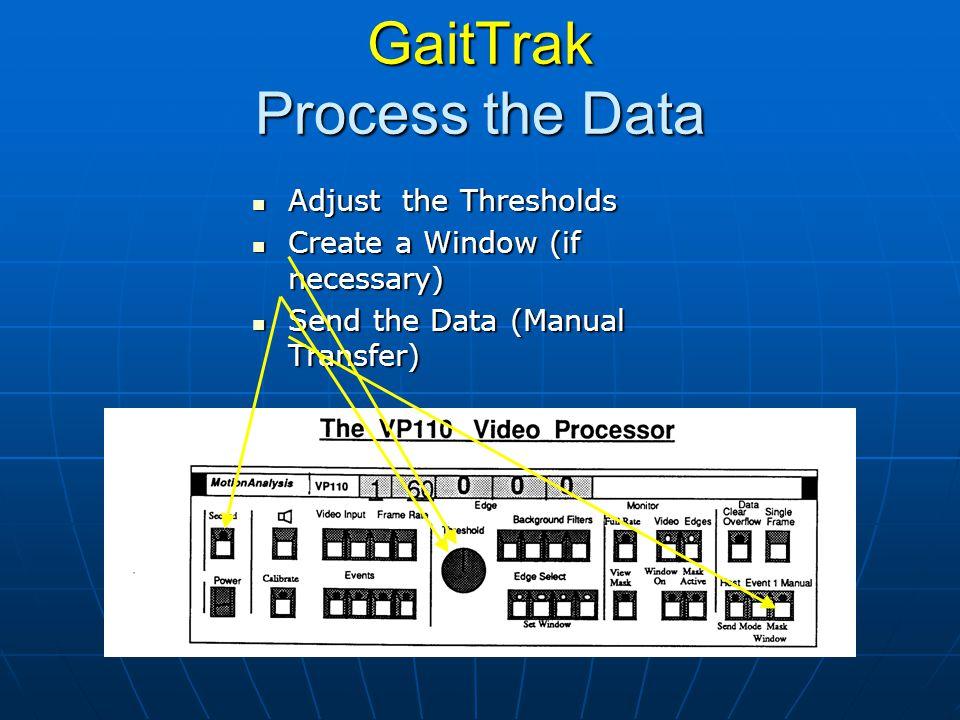 GaitTrak Process the Data Adjust the Thresholds Adjust the Thresholds Create a Window (if necessary) Create a Window (if necessary) Send the Data (Man