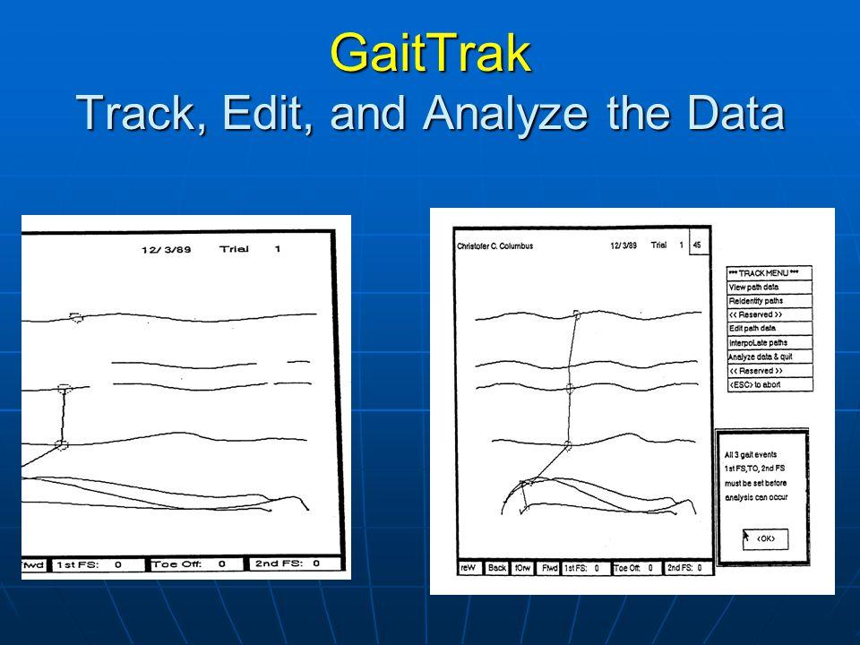 GaitTrak Track, Edit, and Analyze the Data