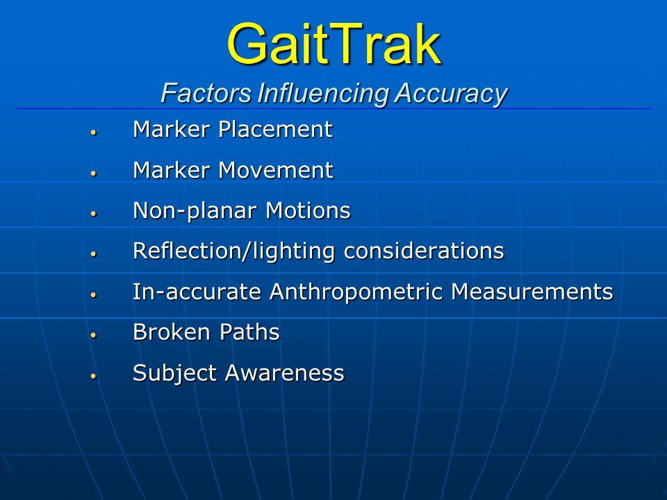 GaitTrak Factors Influencing Accuracy Marker Placement Marker Placement Marker Movement Marker Movement Non-planar Motions Non-planar Motions Reflecti