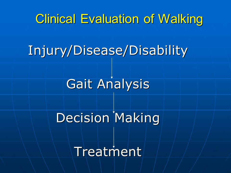 Clinical Evaluation of Walking Injury/Disease/Disability Gait Analysis Decision Making Treatment