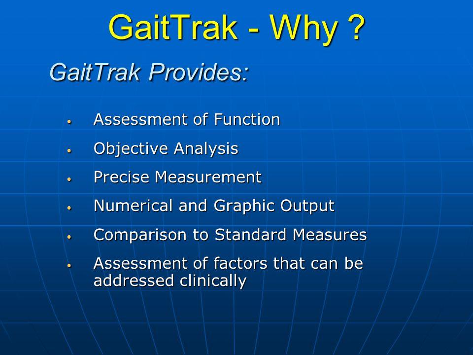 GaitTrak - Why ? GaitTrak Provides: Assessment of Function Assessment of Function Objective Analysis Objective Analysis Precise Measurement Precise Me