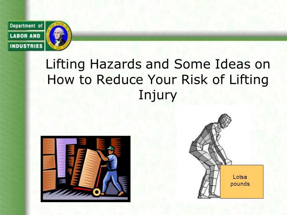 Principles for reducing awkward lifting - reaching - Remove obstacles Slide closer Reduce shelf depth Reduce package size Use mechanical assistance Team lifting Along with object weight, lifting frequency and duration, the distance between the hands and the low back when lifting is one of the main factors in determining whether a lift is a hazard or not.