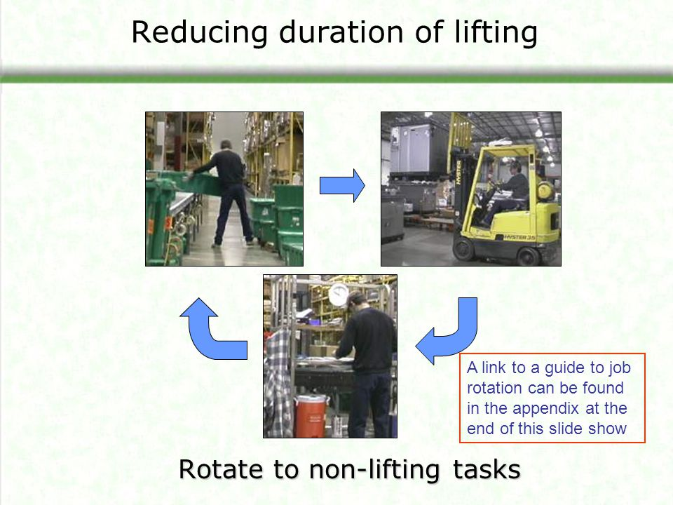 Reducing duration of lifting Rotate to non-lifting tasks A link to a guide to job rotation can be found in the appendix at the end of this slide show