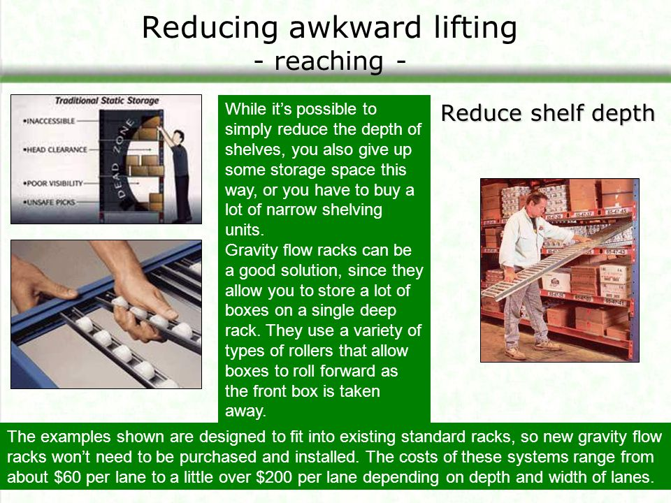 Reducing awkward lifting - reaching - Reduce shelf depth The examples shown are designed to fit into existing standard racks, so new gravity flow rack