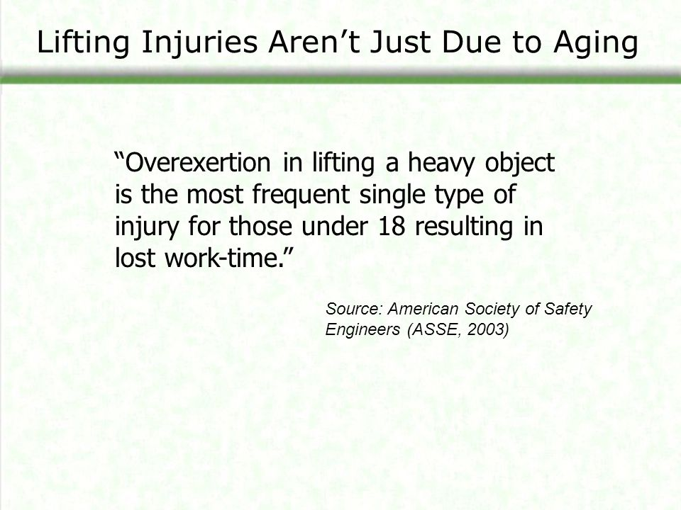 "Source: American Society of Safety Engineers (ASSE, 2003) Lifting Injuries Aren't Just Due to Aging ""Overexertion in lifting a heavy object is the mos"