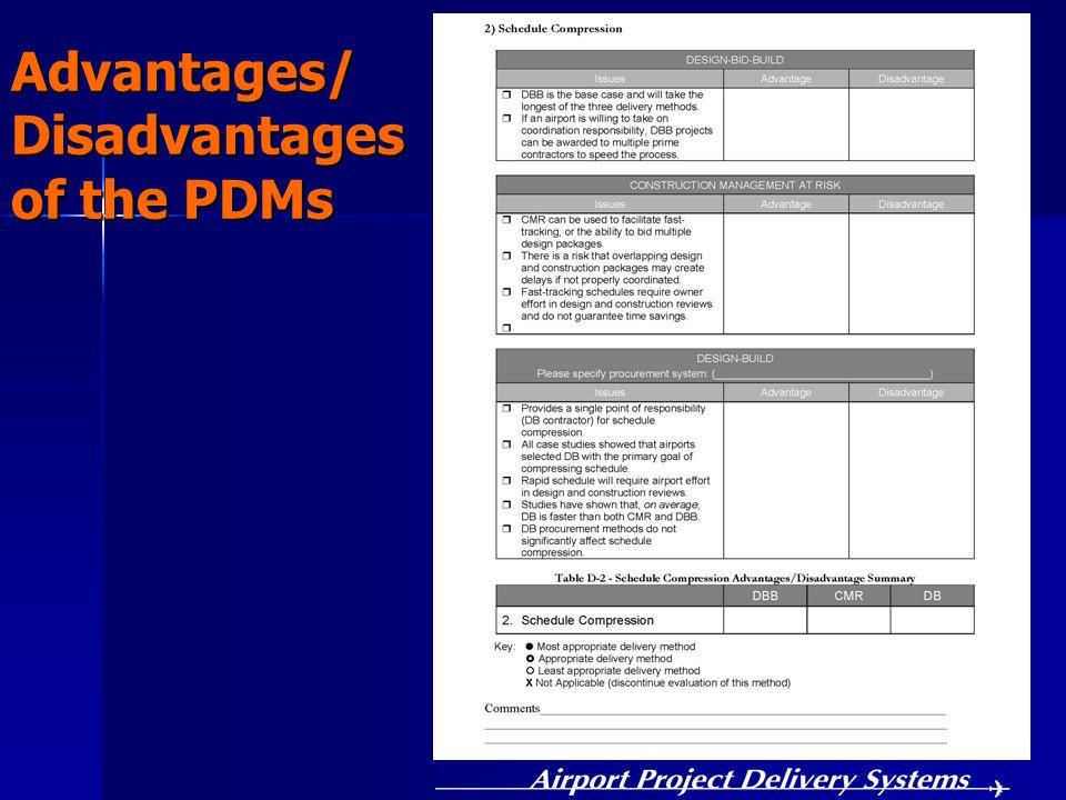 Advantages/ Disadvantages of the PDMs