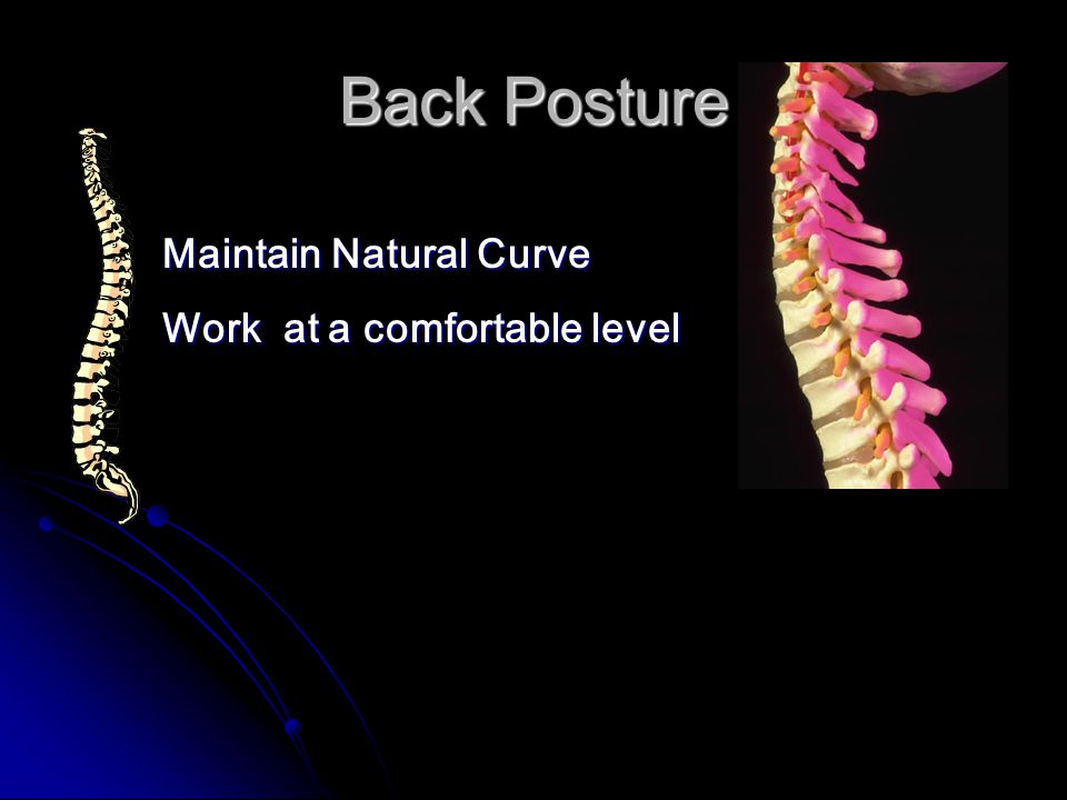 Back Posture Maintain Natural Curve Work at a comfortable level