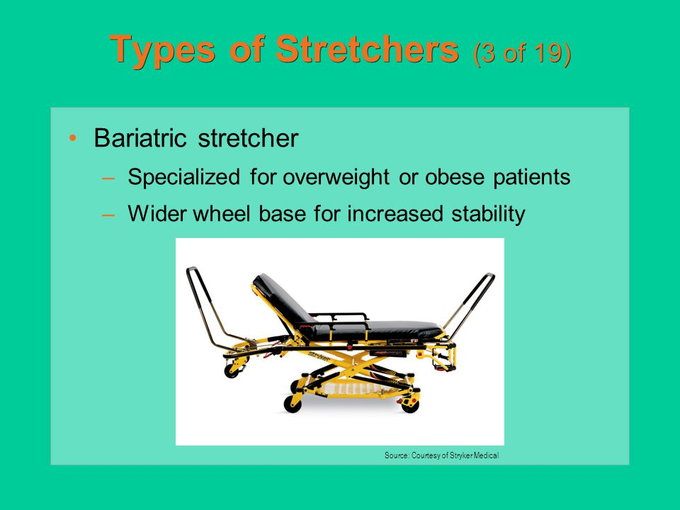 Types of Stretchers (3 of 19) Bariatric stretcher –Specialized for overweight or obese patients –Wider wheel base for increased stability Source: Cour