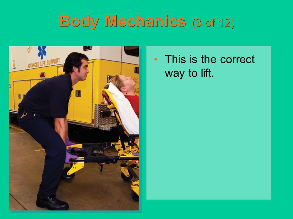 Types of Stretchers (6 of 19) Loading a wheeled stretcher into an ambulance –Ensure the frame is held firmly between two hands so it does not tip.