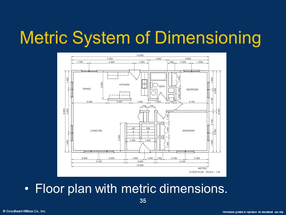 © Goodheart-Willcox Co., Inc. Permission granted to reproduce for educational use only 35 Metric System of Dimensioning Floor plan with metric dimensi