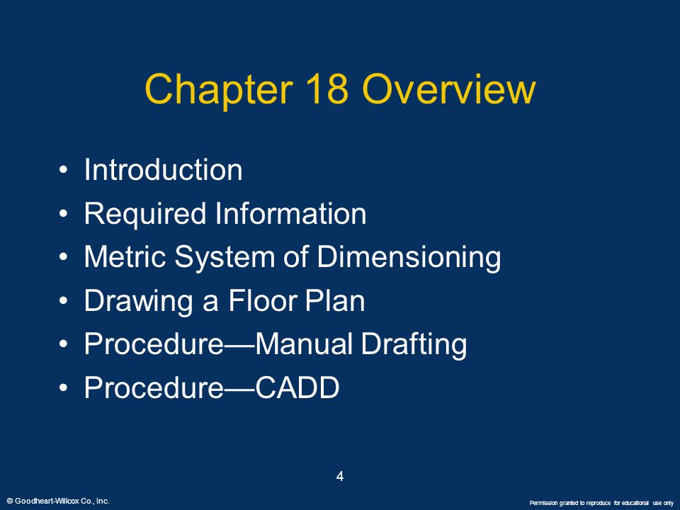 © Goodheart-Willcox Co., Inc. Permission granted to reproduce for educational use only 4 Chapter 18 Overview Introduction Required Information Metric